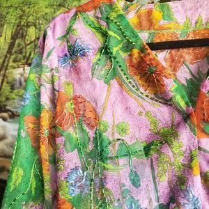 Gorgeous Vintage Floral Beaded Semi Sheer Top